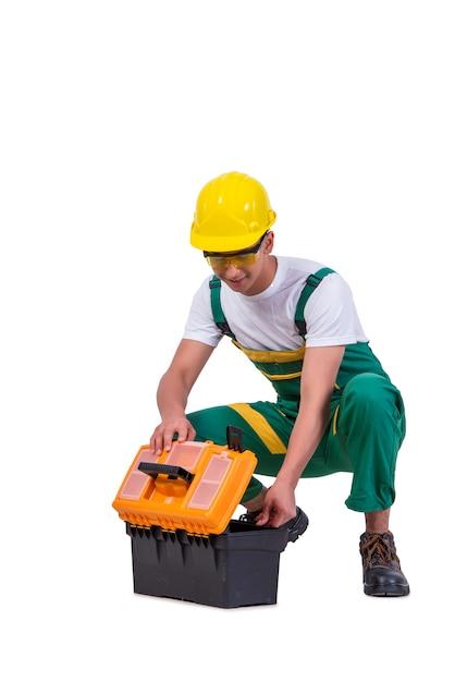 Homem jovem, com, toolkit, toolbox, isolado, branco Foto Premium