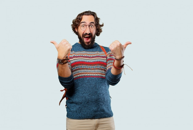 Homem jovem hippie bem ou tudo bem sinal Foto Premium