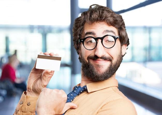 Homem louco com expressão card.funny crédito Foto gratuita
