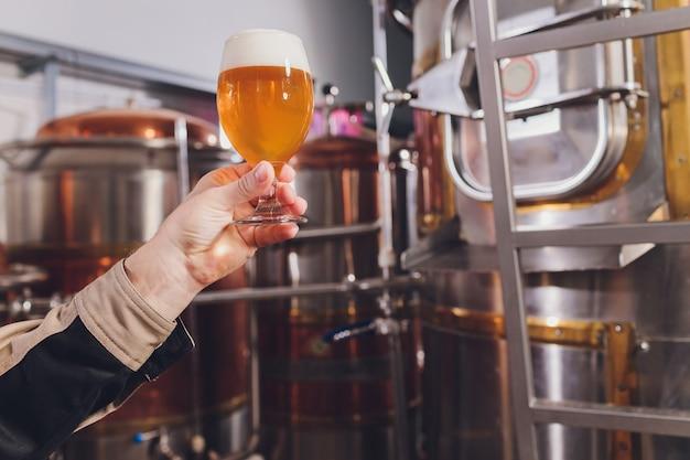 Homem maduro, examinando a qualidade da cerveja artesanal na cervejaria. inspetor trabalhando na fábrica de fabricação de álcool, verificando a cerveja. homem na destilaria, verificação de controle de qualidade de chope. Foto Premium