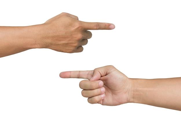 Homem, mãos apontando, branco, fundo Foto Premium