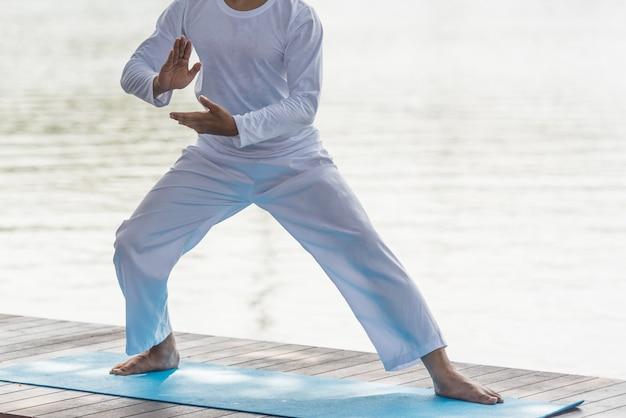 Homem na pose de tai chi, artes marciais chinesas, fim acima. Foto Premium