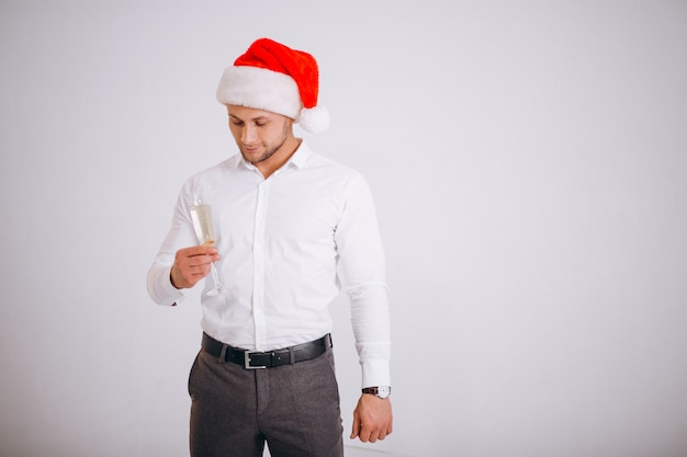 Homem negócio, em, chapéu santa, com, vidro, de, champaigne Foto gratuita