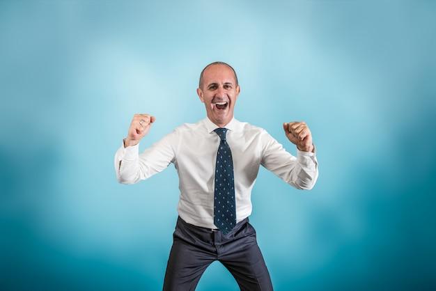 Homem negócio, exultar, para, um, sucesso Foto Premium