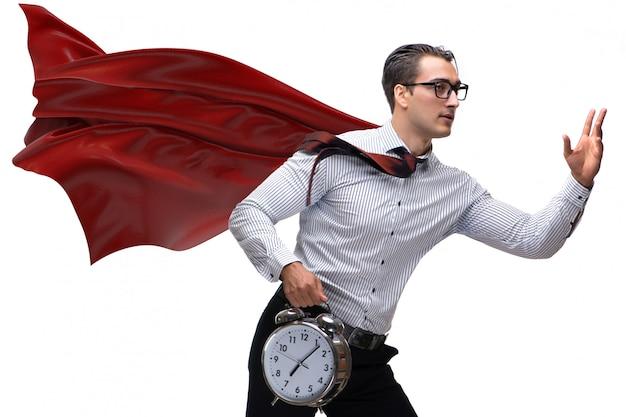 Homem negócios, com, capa vermelha, e, despertador Foto Premium