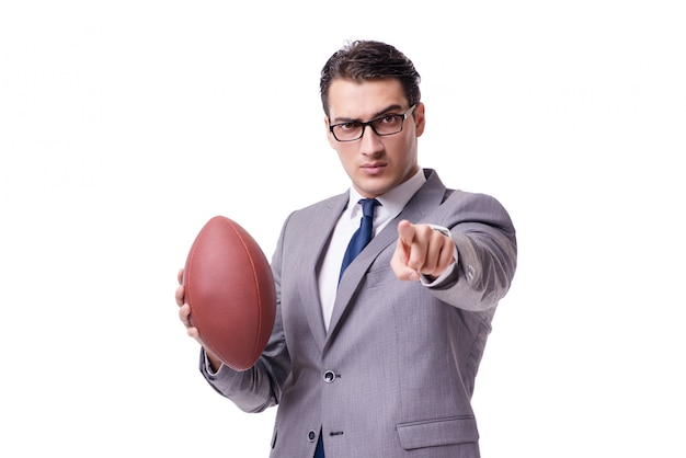 Homem negócios, com, futebol americano, isolado, branco Foto Premium