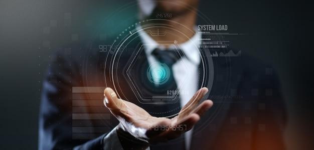 Homem negócios, criando, futurista, círculo, holog, holograma Foto Premium