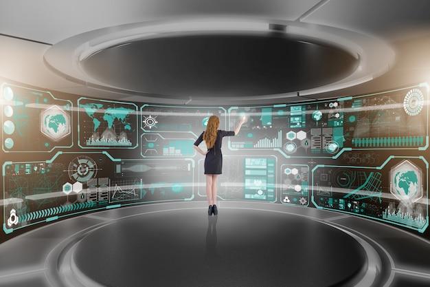 Homem negócios, em, grande, dados, gerência, conceito Foto Premium