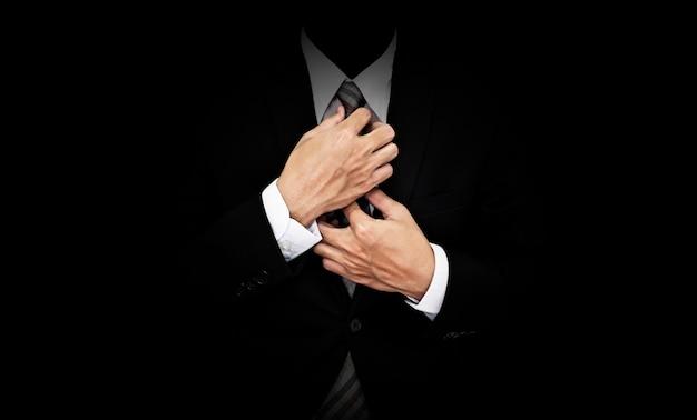Homem negócios, em, terno preto Foto Premium