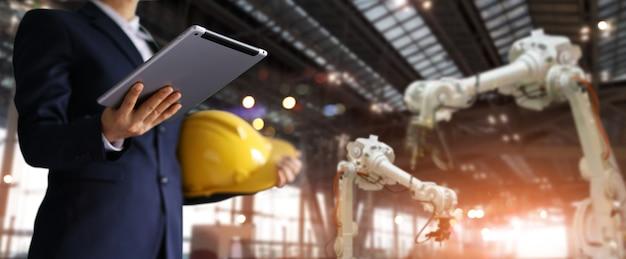 Homem negócios, em, um, futuro, local construção Foto Premium
