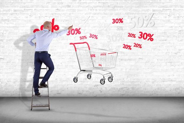 Homem negócios, frente, um, parede, com, um, vermelho branco, bonde, e, vendas, desconto, -, 3d, render Foto Premium