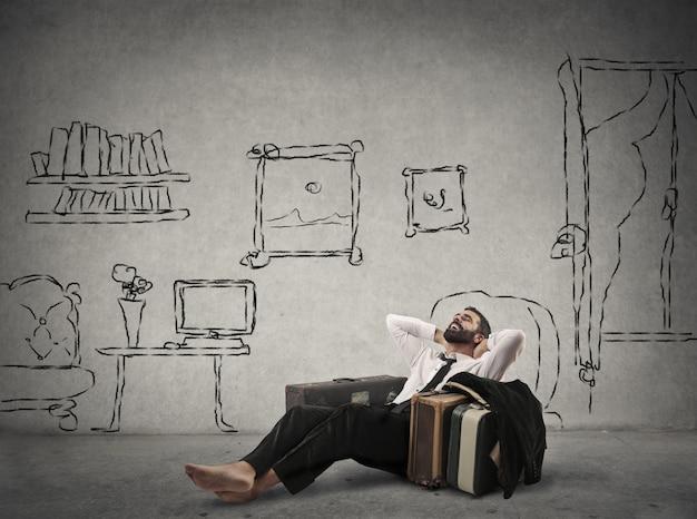 Homem negócios, relaxante, entre, desengates Foto Premium
