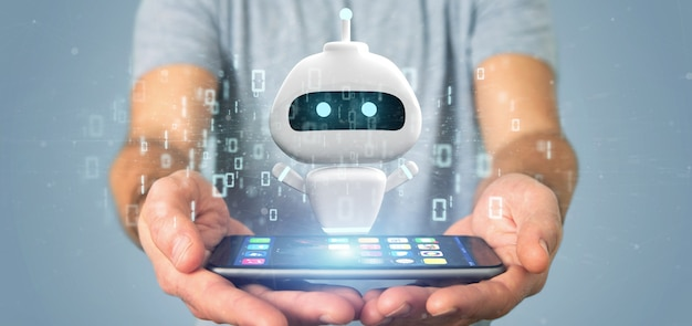 Homem negócios, segurando, chatbot, com, código binário, 3d, fazendo Foto Premium