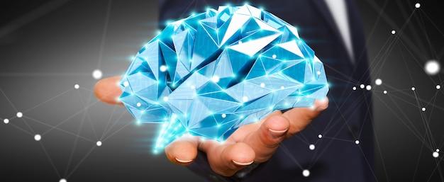 Homem negócios, segurando, digital, raio x, cérebro humano, em, seu, mão, 3d, fazendo Foto Premium