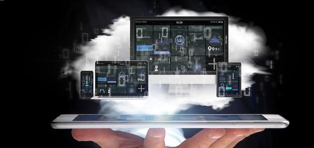 Homem negócios, segurando, dispositivos, conectado, para, um, nuvem, multimedia, rede, 3d, fazendo Foto Premium