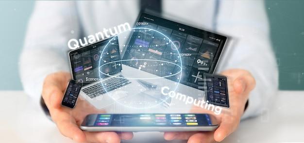 Homem negócios, segurando, quantum, computando, conceito, com, qubit, e, dispositivos, 3d, fazendo Foto Premium
