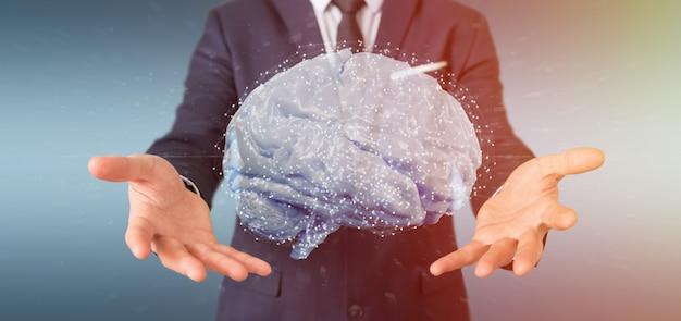 Homem negócios, segurando, um, artificial, cérebro Foto Premium