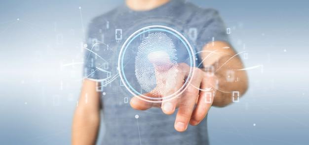 Homem negócios, segurando, um, impressão digital digital, identificação, e, código binário, 3d, fazendo Foto Premium