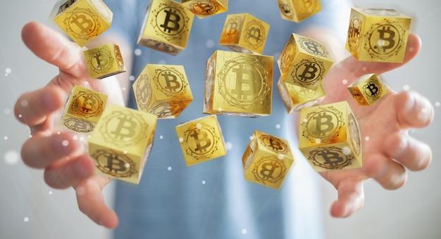 Homem negócios, usando, bitcoins, cryptocurrency, 3d, fazendo Foto Premium