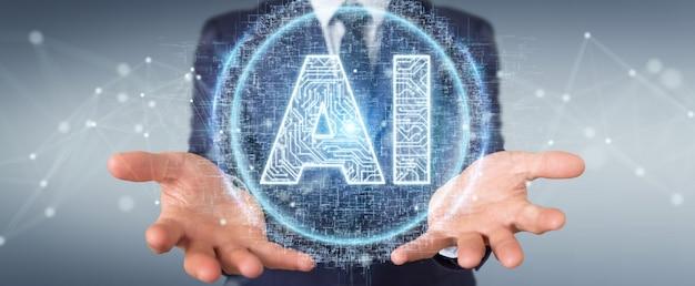 Homem negócios, usando, digital, artificial, inteligência, ícone, holograma Foto Premium