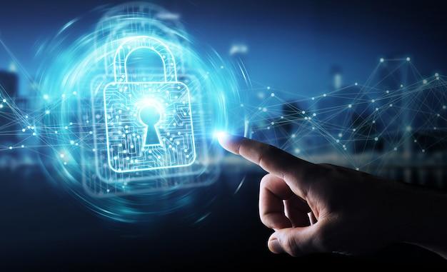 Homem negócios, usando, digital, padlock, com, proteção dados, 3d, fazendo Foto Premium