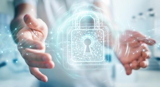 Homem negócios, usando, digital, padlock, com, proteção dados Foto Premium