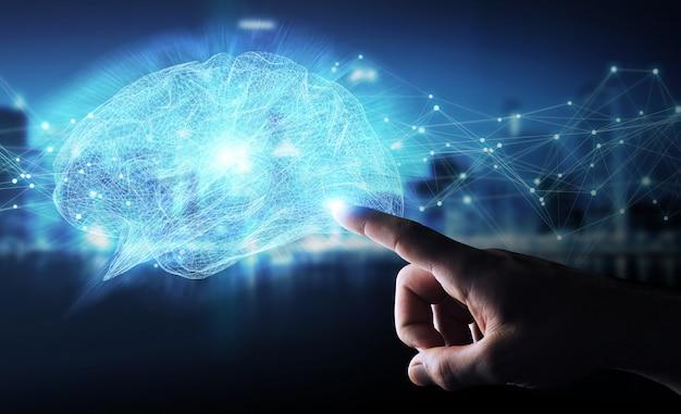 Homem negócios, usando, digital, raio x, cérebro humano, interface, 3d, fazendo Foto Premium