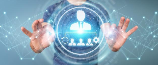 Homem negócios, usando, negócio, liderança, mapa, 3d, fazendo Foto Premium