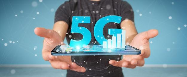 Homem negócios, usando, rede 5g, com, telefone móvel, 3d, fazendo Foto Premium