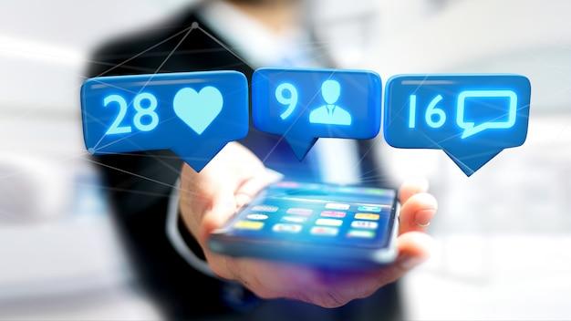 Homem negócios, usando, um, smartphone, com, um, semelhante Foto Premium
