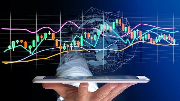 Homem negócios, usng, um, smartphone, com, um, 3d, render estoque, troca, comércio, dados, informação, exposição, ligado, futurista, interface Foto Premium