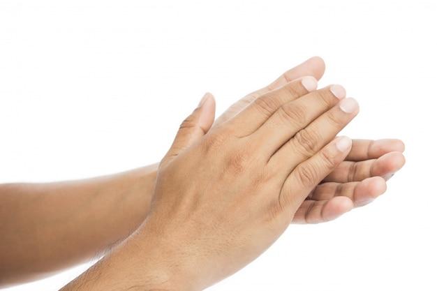 Homem, palmas mãos, aplauso, isolado, branco Foto Premium
