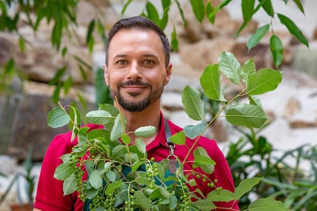 Homem segurando a árvore jovem e prepare-se para plantar no solo. Foto Premium