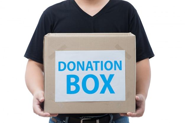 Homem, segurando, doação, caixa Foto Premium
