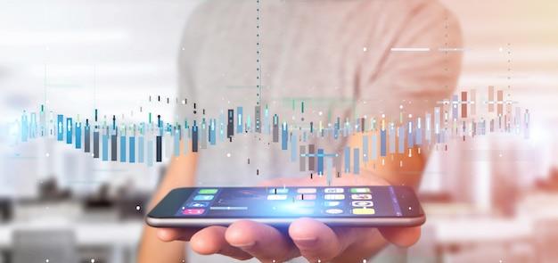 Homem, segurando, negócio, bolsa de valores, negociando, dados, informação Foto Premium