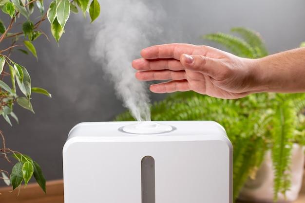 Homem segurando o difusor de óleo com aroma de vapor em casa Foto Premium
