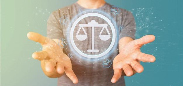 Homem, segurando, um, tecnologia justiça, ícone, ligado, um, círculo Foto Premium