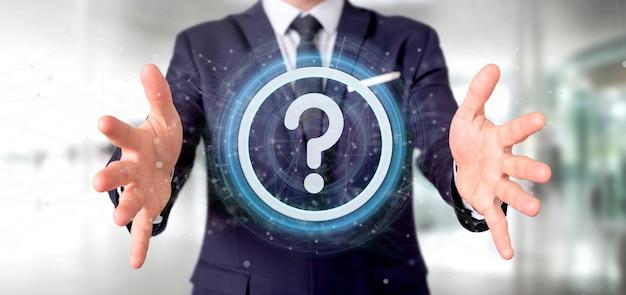 Homem, segurando, um, tecnologia, ponto interrogação, ícone, oncircle Foto Premium