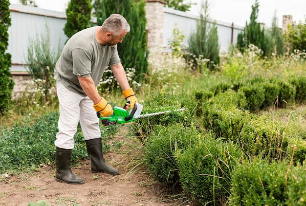 Homem sênior, usando, ferramenta aparando, ligado, bush Foto gratuita