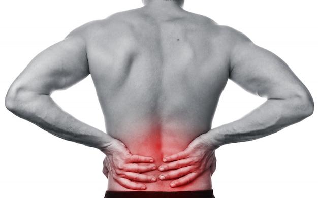 Homem sente dor nas costas Foto Premium