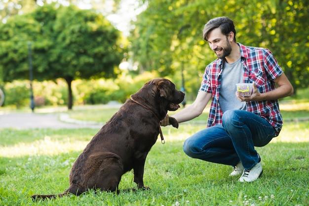 Homem, tendo divertimento, com, seu, cão, em, jardim Foto gratuita