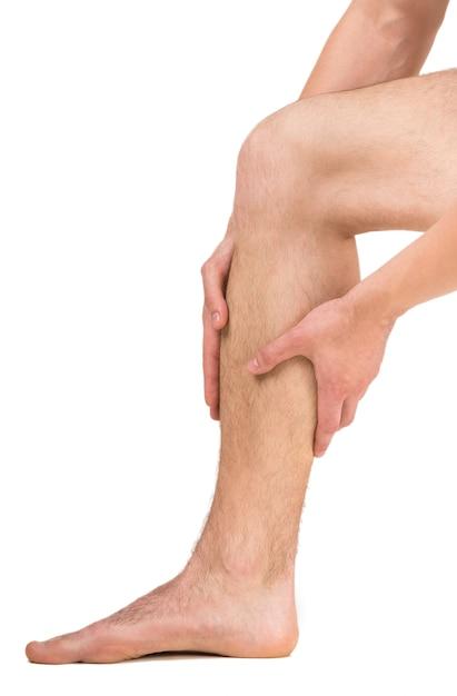 Homem, tendo, perna, dor Foto Premium