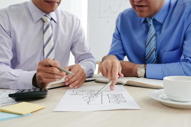 Homens de negócios recortados fazendo estratégias com um gráfico de negócios Foto gratuita