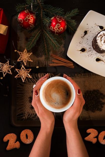 Hora do café do ano novo Foto Premium