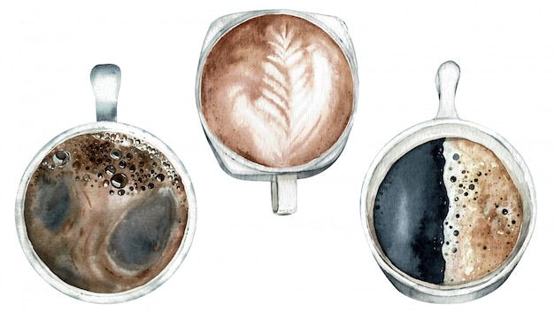 Hora do café, opinião superior das xícaras de café. ilustração em aquarela. Foto Premium