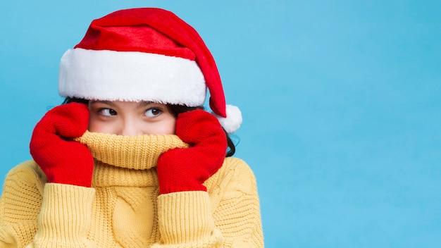 Horário de inverno com roupas específicas para o natal Foto gratuita