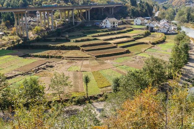 Hortas perto de casas de aldeia perto do rio e rodovia Foto Premium