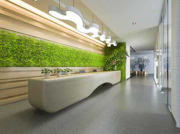 Hotel de luxo de renderização 3d e recepção de escritório e lounge Foto Premium
