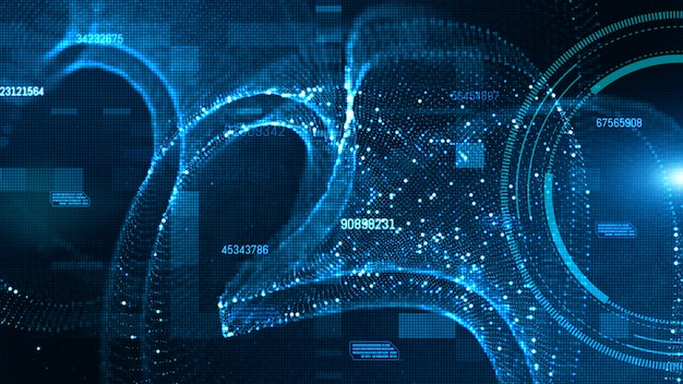 Hud de alta tecnologia e dados com partículas digitais de cor azul fluem conceito de fundo futuro Foto Premium