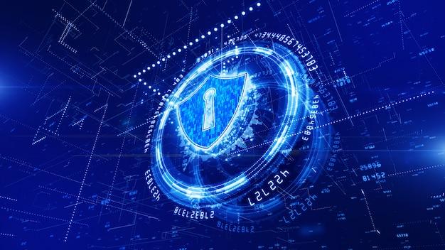 Hud e escudo ícone de segurança cibernética fundo Foto Premium